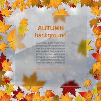 가을 스타일의 흐릿한 벡터 배경에는 화려한 잎과 유리 모양 효과가 있는 유리 광고판이 있습니다.