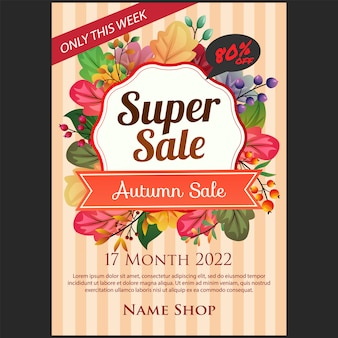 Autumn super sale poster with colored autumn leaves illustration