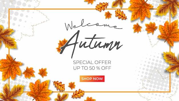Autumn super sale vector illustration white background