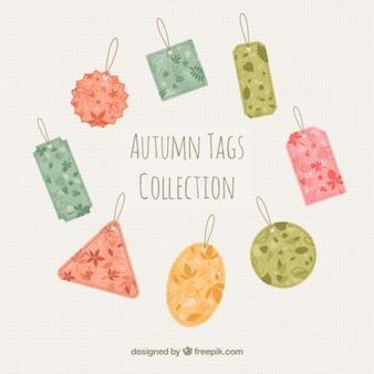 Collezione autunno tag in diversi colori