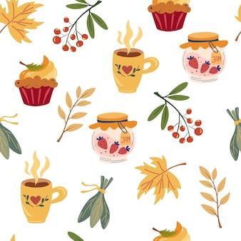 秋のお茶会のシームレスなパターン。ハンドドローティーマグ、ジャムの瓶、パンプキンパイ、赤いベリーと葉。壁紙、ラッピング、テキスタイル、ファブリック、装飾、プリント、カードの居心地の良いティータイムのデザイン。ベクター