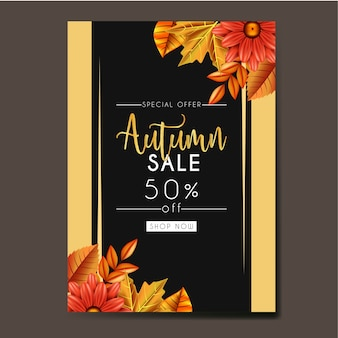 Autumn Template design with leaves and flowers