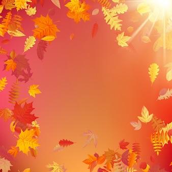 秋のテンプレートレイアウトは葉で飾る。