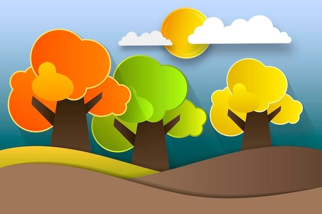 Осенний шаблон, бумажные красочные листья дерева, фиолетовый фон. осенний праздник дизайн для приглашения фестиваля осеннего сезона, поздравительная открытка, стиль вырезки из бумаги, векторная иллюстрация