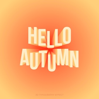 Testo autunnale in tipografico effetto 3d con colori caldi