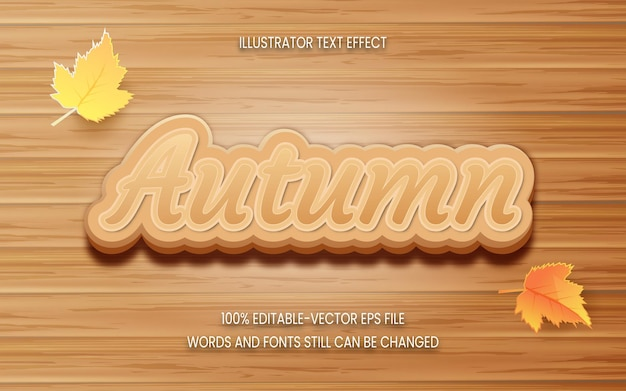 Autumn text effect with wooden background