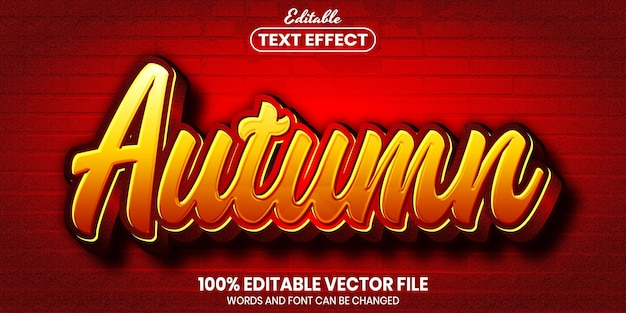 Autumn text, font style editable text effect