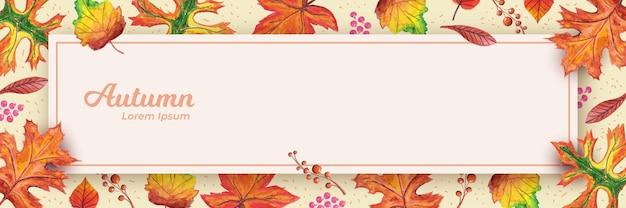 Осенний текстовый баннер с сухими листьями handdrawn