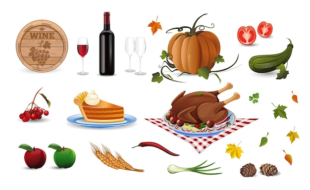 Autumn and thanksgiving cartoon colored illustration set. harvest festival. illustration