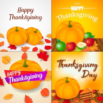 Autumn thanksgiving day banner set