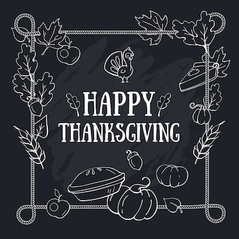 Autumn thanksgiving greeting composition card template with lettering on blackboard and rope frame