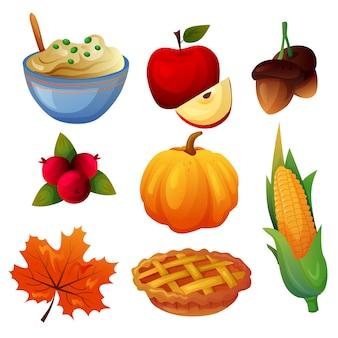 Autumn thanksgiving item icon set