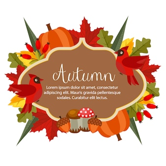 Autumn theme banner with flat style