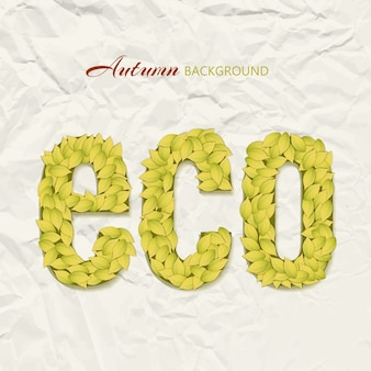 Autumn theme design on wrinkled paper with eco letters made up of yellow leaves
