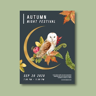 Autumn themed poster with plants