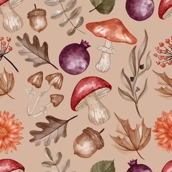 Autumn themed seamless pattern flower, leaves, and mushroom