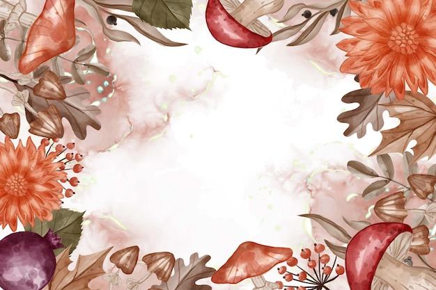 Осенняя тематическая акварель рамка фон цветок, листья и гриб с белым пространством