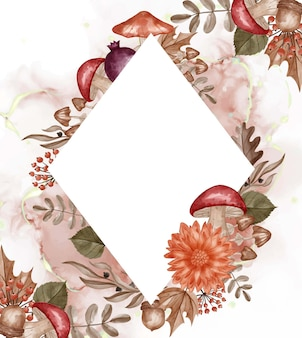 秋をテーマにした水彩フレームの背景の花、葉、白いスペースとキノコ