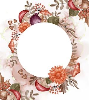 Fiori, foglie e funghi del fondo della struttura dell'acquerello a tema autunno con spazio bianco