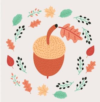 秋の時代背景。バーチ、ニレ、オーク、ナナカマド、メープル、クリ、アスペンの葉、ドングリ。明るく色鮮やかな紅葉とホワイトペーパーバッジ。テキストを中央に配置できます。