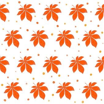 秋の時間のシームレスなパターンの背景。デザインカード、招待状、アルバム、skrapbook、テキスタイルファブリックなどの白いカバーに分離された手作りの落書きオレンジ色の紅葉