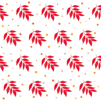 Autumn time seamless pattern background. handmade doodle red autumn leafs isolated on white cover for design card, invitation, album, skrapbook, textile fabric etc