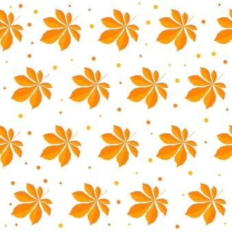 秋の時間のシームレスなパターンの背景。デザインカード、招待状、アルバム、skrapbook、テキスタイルファブリックなどの白いカバーに分離された手作りのオレンジ色の紅葉