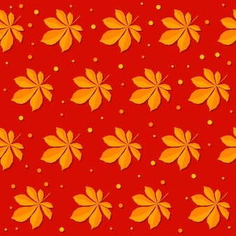 Autumn time seamless pattern background. handmade  orange autumn leafs isolated on red cover for design card, invitation, album, skrapbook, textile fabric etc