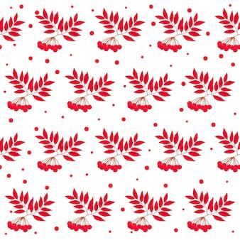 秋の時間のシームレスなパターンの背景。デザインカード、招待状、アルバム、skrapbook、テキスタイルファブリックなどの白いカバーに分離された手作りの赤い秋のナナカマド