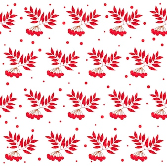 Autumn time seamless pattern background. handmade red autumn rowan isolated on white cover for design card, invitation, album, skrapbook, textile fabric etc