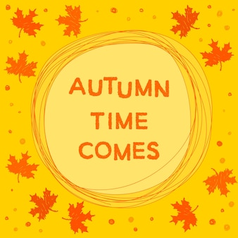 Autumn time theme. bright funny card template for use in design