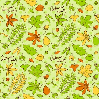 Autumn times seamless background pattern with leaves and nuts in beautiful colors
