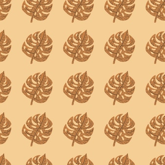 Autumn tones exotic foliage seamless pattern with brown monstera shapes. light orange background.