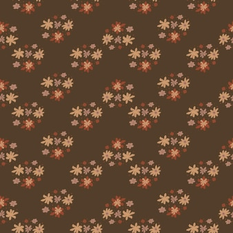 Autumn tones seamless pattern with cartoon flower ornament print. brown background.