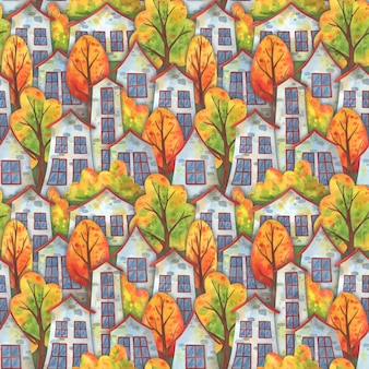 Autumn in the town. seamless pattern with houses and falling trees.