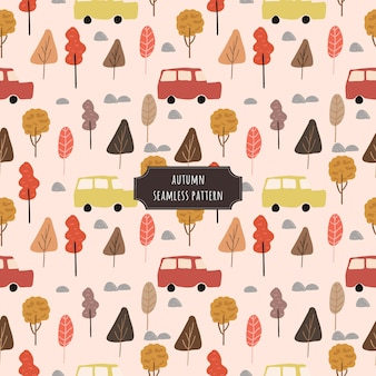 Autumn tree and car seamless pattern