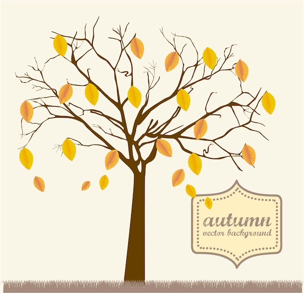 Autumn tree over grass vintage style vector illustration