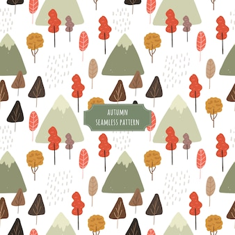 Autumn tree and mountain seamless pattern