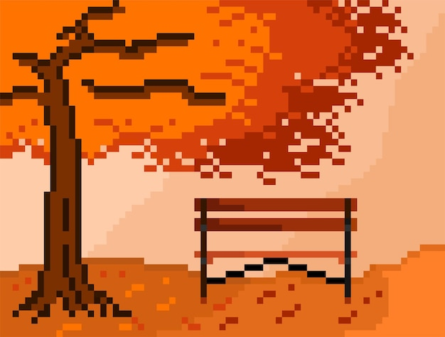 Autumn tree and park bench with pixel art style