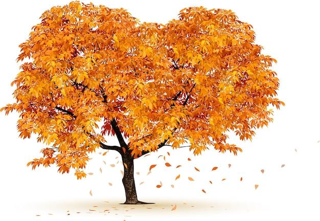 秋の木のvector白い背景で隔離の現実的な木