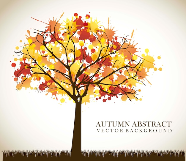 Autumn tree over vintage background vector illustration