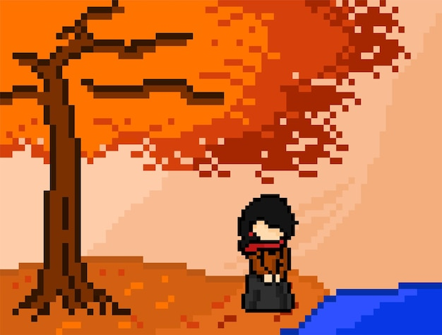 Autumn tree and woman in front of lake with pixel art style