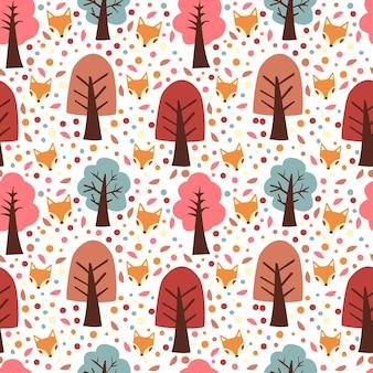 가을 나무와 여우 원활한 패턴 벡터 배경