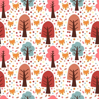 Autumn trees and fox seamless pattern vector background