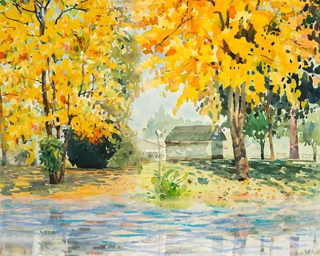 가을 나무 그림 수채화 풍경 노란색 꽃과 잎 일러스트 벡터