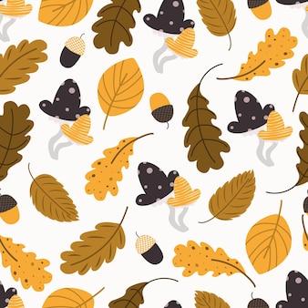 가 나무 패턴입니다. 잎이 완벽 한 배경입니다. 오크, 너도밤나무, 자작나무의 양식된 잎. 잘 익은 버섯과 도토리. 패브릭, 디지털 페이퍼, 스크랩북을 위한 다양한 디자인. 벡터 일러스트 레이 션 프리미엄 벡터