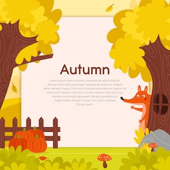 Autumn trees with fox background