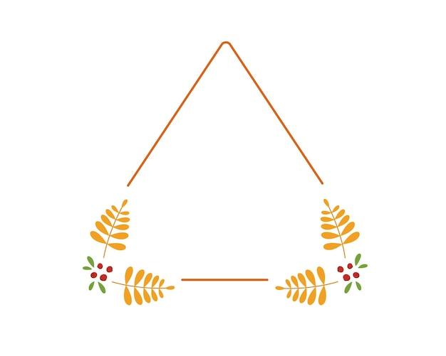 黄色のナナカマドの葉と秋の三角形のフレーム
