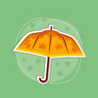 Осенний зонт с листьями