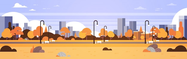 Autumn urban yellow park outdoors city buildings street lamps cityscape concept horizontal banner flat